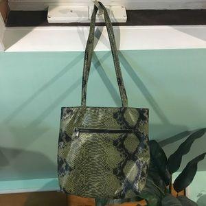 Olive Green Faux Snakeskin Mini Tote Bag